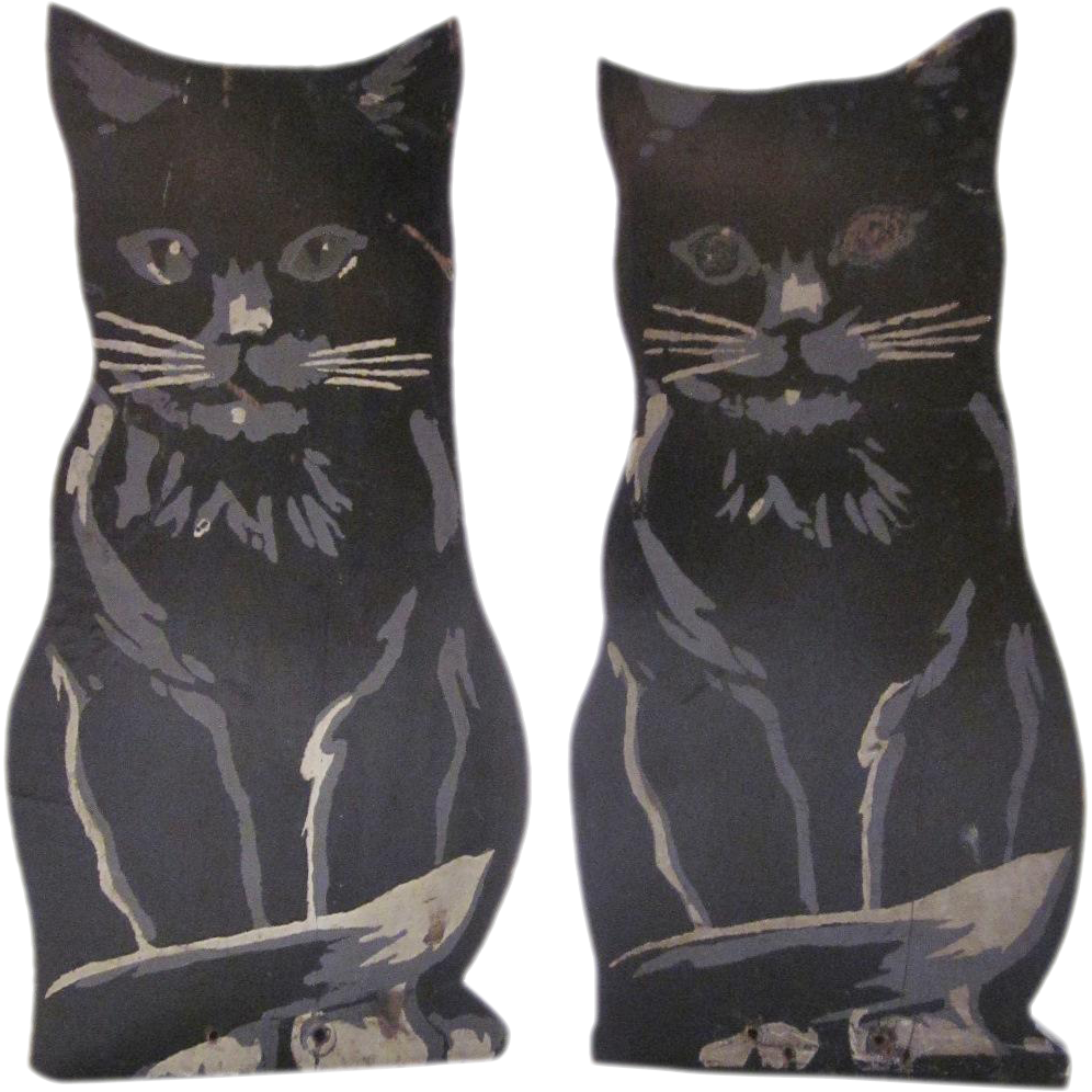 Folk Art Wood Hand Painted Black Cat Bookends