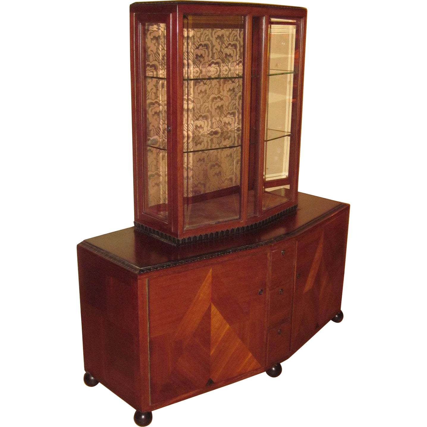 Clement rousseau french art deco display cabinet signed for Art deco furniture chicago