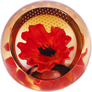 Red Poppy Paperweight by Caithness