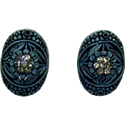 Vintage Enameled Cornflower Blue with Rhinestone Flowers in the center screw back earrings-Shabby Chic-Cottage Chic