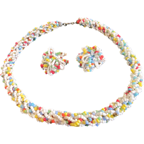 Vintage Coro Seed Bead Loopy Braided Necklace and Earring Set Demi
