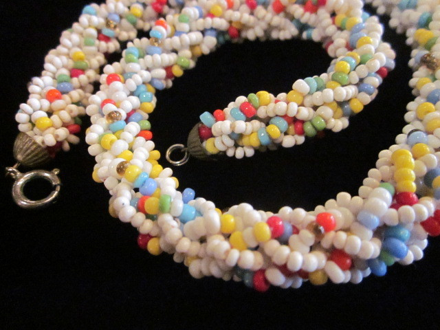 Vintage Coro Seed Bead Loopy Braided Necklace And Earring