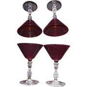Vintage Cranberry Martini Glasses with Pineapple cut glass stems-Set of 6