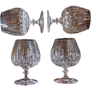 Vintage brandy snifter cordial Czechoslovakian lead crystal barware set of 4