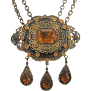 Art Deco Czechoslovakian Amber Glass Necklace Statement Necklace with Amber rhinestones, Danglers, and a Double Chain