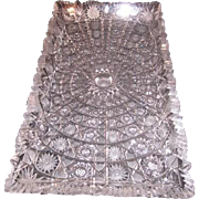 Vintage Czechoslovakian Rectangular Hand Cut 24 Lead Queen Lace Crystal Serving Tray or Platter