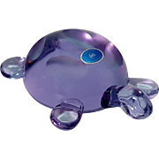 Large Czechoslovakian Lavender Purple Art Glass Turtle