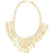 Gorgeous Vintage Gold tone Dangle Bib Necklace Chain mail necklace