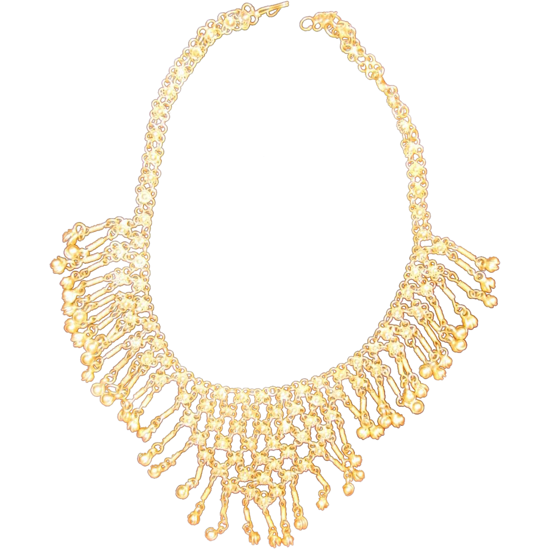 Gorgeous vintage gold tone dangle bib necklace chain mail for Best place to sell gold jewelry in chicago