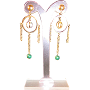 Art Deco Style Geometric Dangle Earrings