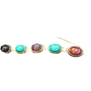 Egyptian Revival Huge Glass Scarab Bracelet