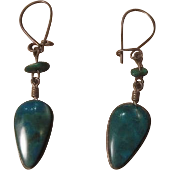 Vintage Polished and Turquoise Enameled Pierced Earrings