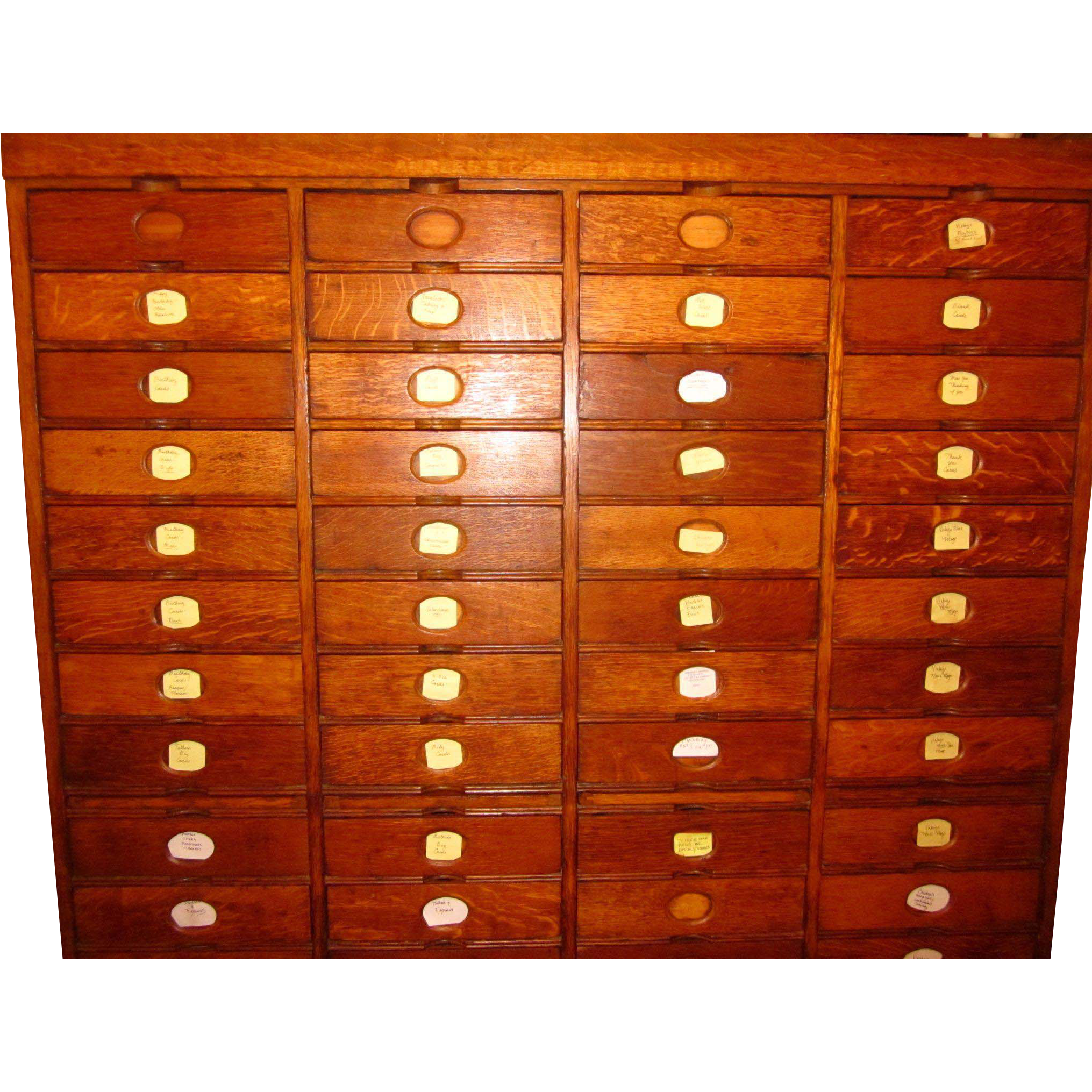 Antique Amberg's Imperial 60 Drawer Solid Oak Letter File Cabinet 19th Century-Mint Condition