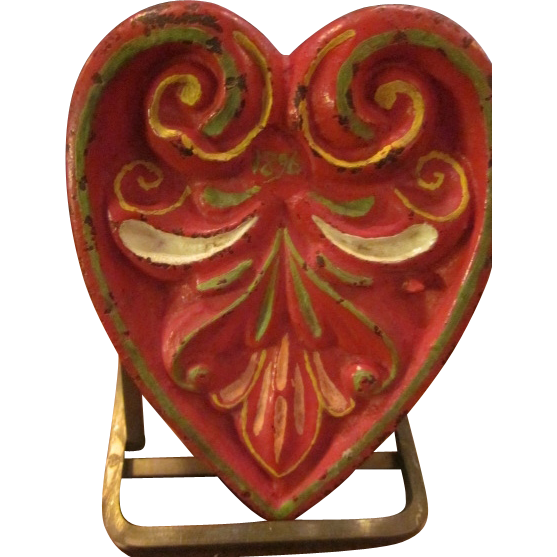 Cast Iron Hand Painted Nordic Folk Art Heart dated 1896