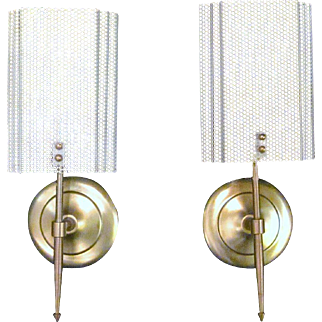 Pair of French Mid-Century Pierced Metal Sconces Paris Apartment Chic Sconces