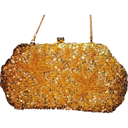 Vintage Blingy Gold Sequins Beaded Handbag Purse