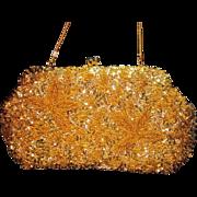 Vintage Blingy Gold Sequins Beaded Handbag Purse