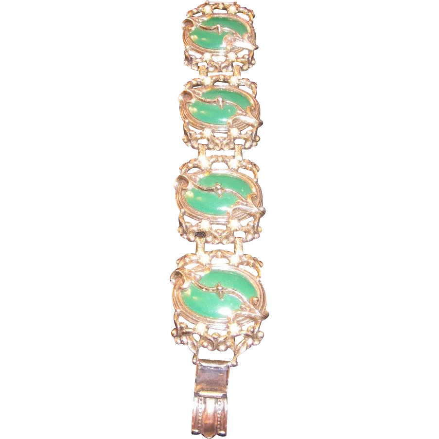 Vintage Selro Bracelet -Green large enameled metal cabochons with  simulated seed Pearls