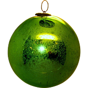 Antique German Kugel Christmas Ornament apple green 5 inches - 1800's