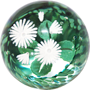White and Green Wildflower Paperweight By Caithness