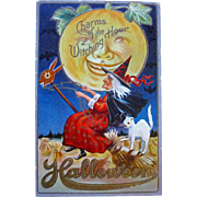 Vintage Halloween postcard Witch on a bunny head broomstick with white cat riding on the back JOL