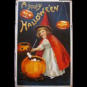 Vintage Halloween Postcard Ellen Clapsaddle postcard  Cute witch with JOL cauldron series #978