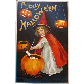 Vintage Halloween Postcard Ellen Clapsaddle postcard  Cute witch with JOL cauldron series #978