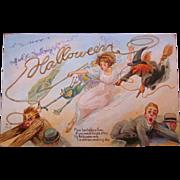 Vintage Halloween Postcard Nash Series 12 Witch Green Goblin Flee Bachelors