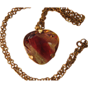 Heart Necklace Huge Givre Glass Stone