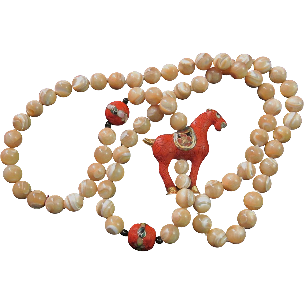 Vintage Cloisonne, Cinnabar, Onyx, and Banded Agate Horse Necklace