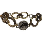 Vintage Horse Bracelet Gold Tone Retro Equestrian Bracelet Five Horse Heads & Six lucky Horseshoes