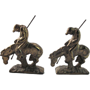 """Vintage Cast Metal with Brass Plating """"End of the Trail"""" Bookends, End of the Trail Metal Art, Antique Book Ends, Horse and Rider Bookend-Native American Indian"""