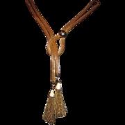 Vintage Gold tone Mesh lariat tassel necklace