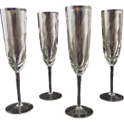Vintage Krosno Poland Crystal Champagne Flutes (Set of Four)