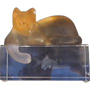 Daum France Crystal Cat reaching into Fish Tank - Whimsical Figurine - Cat Figurine - Red Tag Sale Item