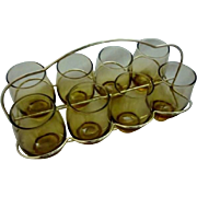 Vintage MCM Mad Men 1960's Libbey Golden Tempo Glasses in Folding Caddy Barware / Drinkware / Serveware- New Old Stock 1966 12oz