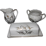 Vintage 1950's Lefton China Hand Painted Wheat Cream, Sugar, and Butter Dish