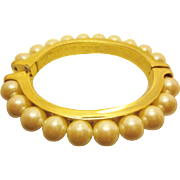 Vintage Designed and Signed by Les Bernard Hinged Faux Pearl Goldtone Bangle Bracelet