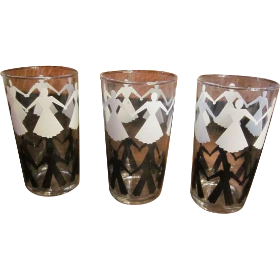 Vintage MCM Libbey 1960's Tumbler Glasses with Black and White People - Very Rare Glassware - Set of 3