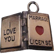 Vintage Sterling Silver Locket Charm of an I Love You Marriage License