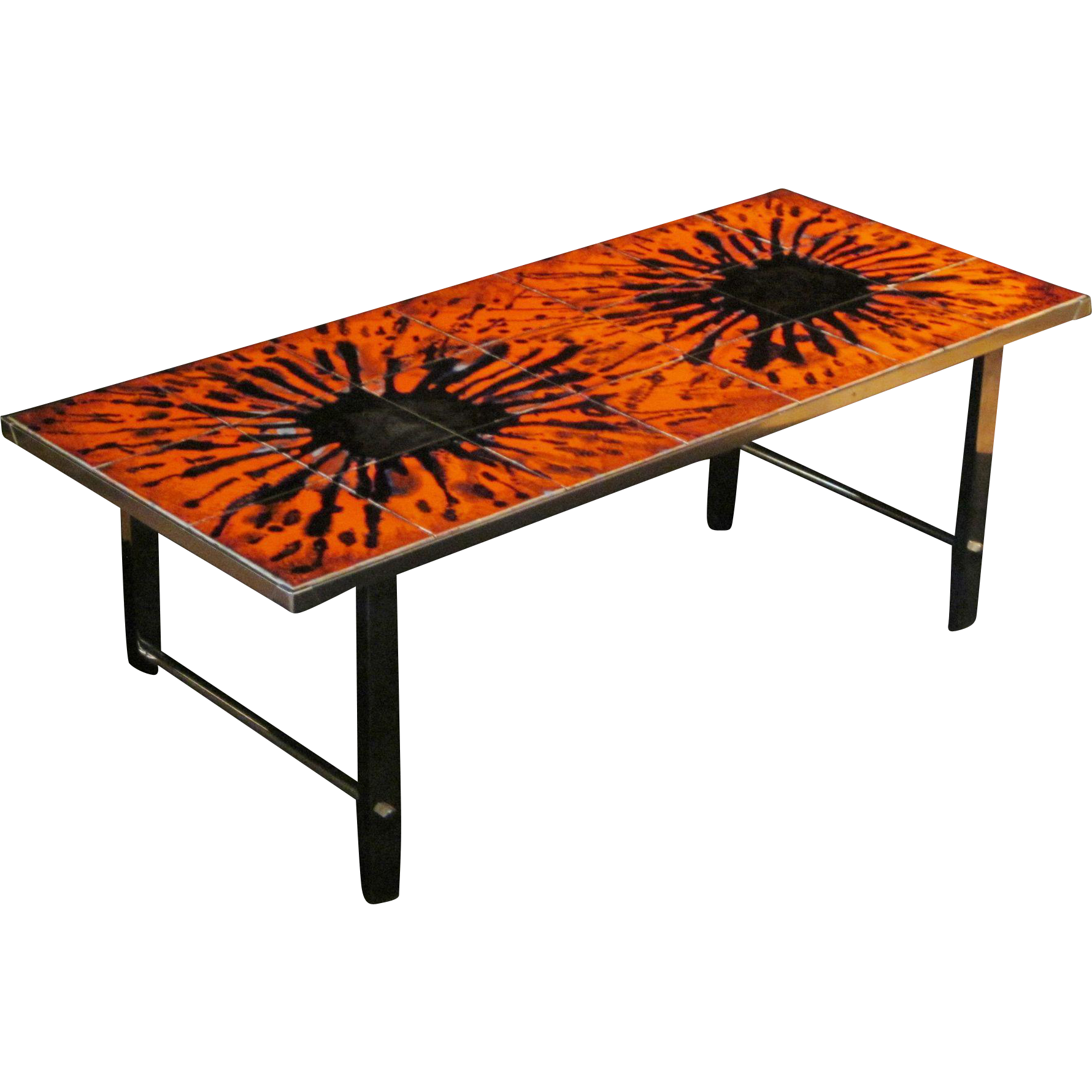 Mid-Century Modern Chrome and Tile Coffee Table