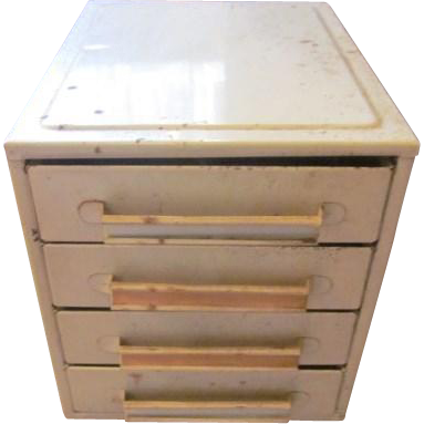 Vintage Diminutive Industrial Metal 4 Drawer Cabinet for storing small items - Jewelry Storage - Nuts and Bolts - Crafting - Steampunk