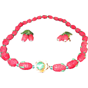 Vintage Murano Glass Sugared Strawberry Necklace and Earring Demi Parure from the 1950's - Red and Green