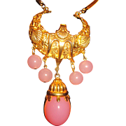 Vintage large Neptune statement Necklace in Pink and Gold tone metal  Sea jewelry Beach jewelry Poseidon