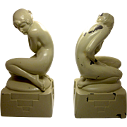 Art Deco  Signed Nuart Nude Flapper Lady Bookends (pair)