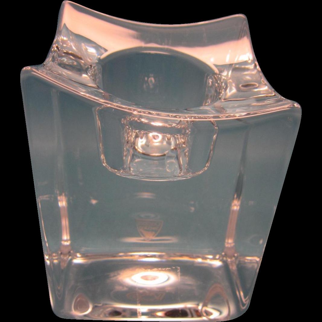 Vintage Orrefors Crystal Candle Holder-Fjorn Scandinavia