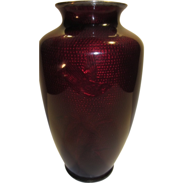 c.1930 Asian Pigeon Blood or Akasuke Enamel Vase