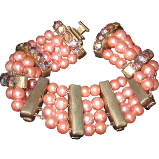 Vintage Faux Pink Pearl Beads and Aurora Borealis Rhinestone Multistrand Bracelet-Pretty in Pink