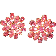 Vintage Sun/Flower Pink rhinestone Screwback Earrings