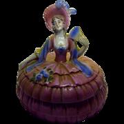 Vintage Porcelain Pink Lady Jewelry or Powder Box